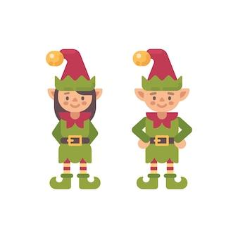 Due simpatici elfi natalizi, maschio e femmina. illustrazione di carattere piatto elfo di babbo natale