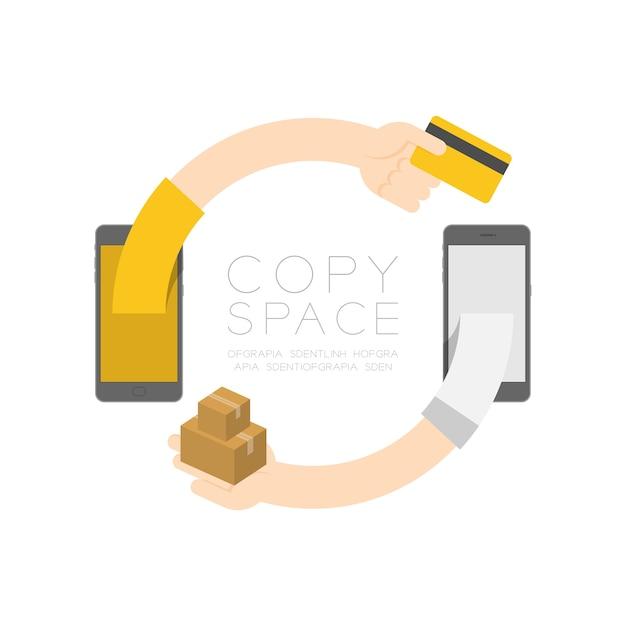 Due smartphone con pop-up acquirente mano che tiene la carta di credito e la mano del venditore inviare merci