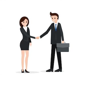 Due soci d'affari si stringono la mano. candidato
