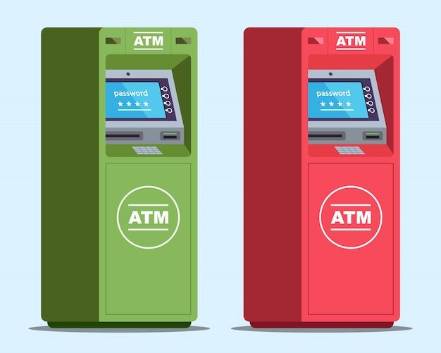 Due sportelli bancomat richiedono una password per ritirare l'illustrazione di denaro