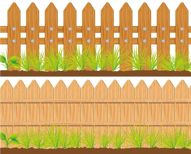Due stili di recinzioni in legno illustrazione vettoriale
