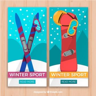 Due striscioni colorati sport invernali