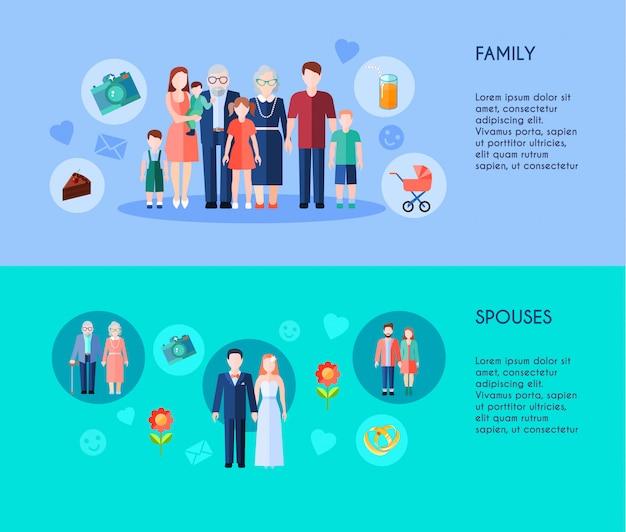 Due striscioni di famiglia allargata con membri di generazioni diverse e vari coniugi di età