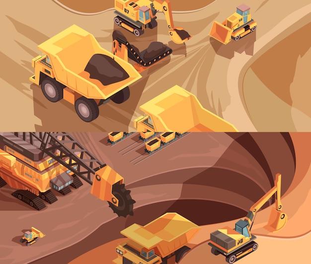Due striscioni minerari orizzontali con attrezzature estrattive