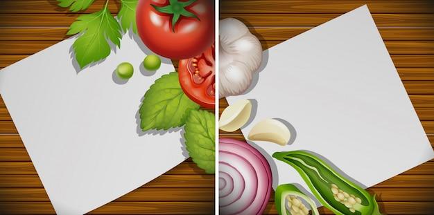 Due tavole con ingredienti freschi