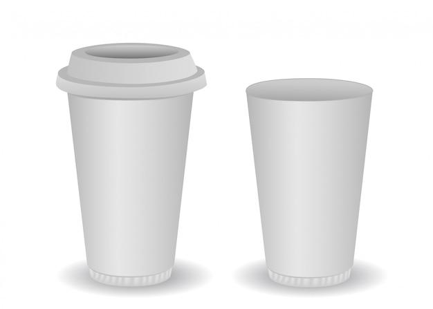 Due tazze di caffè di carta bianca