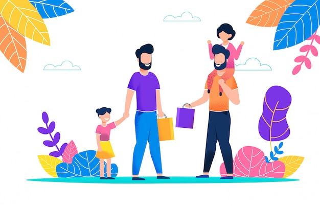 Due uomini barbuti camminano con i loro bambini nel pacchetto