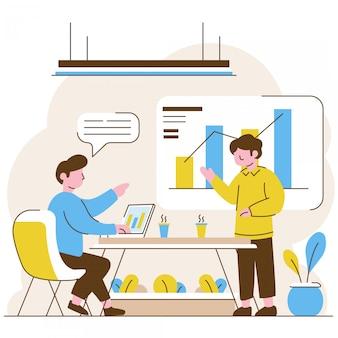 Due uomini che fanno presentazione aziendale in ufficio