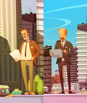 Due uomini d'affari che leggono documenti elettronici e cartacei