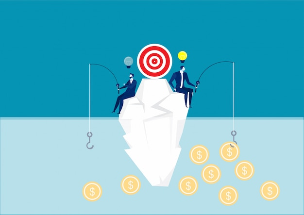 Due uomini d'affari che provano a catturare un simbolo del dollaro sulla montagna, risultati diversi e possibilità, fortuna, illustrazione
