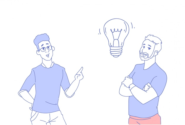 Due uomini d'affari il brainstorming della lampada leggera nuova idea