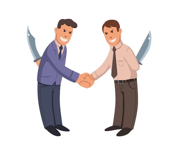 Due uomini d'affari si stringono la mano con i coltelli dietro la schiena. uomini d'affari-ipocriti. illustrazione vettoriale piatta isolato su bianco