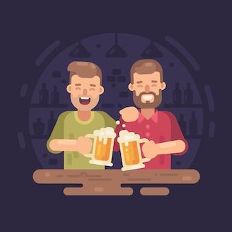Due uomini felici che bevono birra in un'illustrazione piana della barra