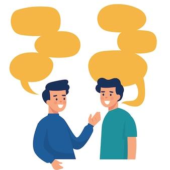 Due uomini parlano con molte bolle di parole