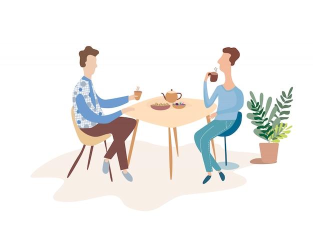 Due uomini stanno parlando a un tavolo in un caffè. discutere di una tazza di tè. illustrazione vettoriale piatto moderno.