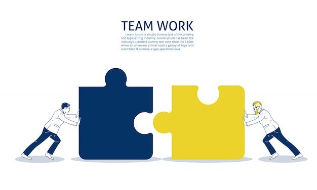 Due uomo d'affari che spinge due pezzi di puzzle. modello di testo