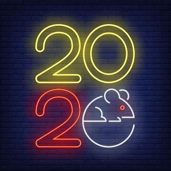 Duemila e venti anni con l'insegna al neon del mouse