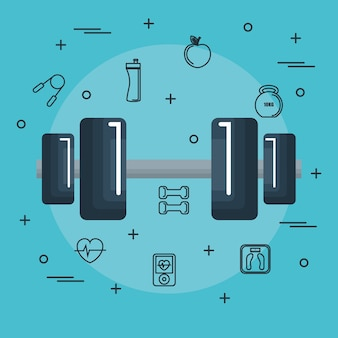 Dumbbell con oggetti disegnati a mano legati all'esercizio su sfondo blu. illustrazione vettoriale