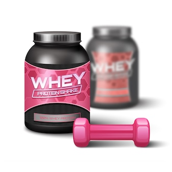 Dumbbell woman and sport nutrition