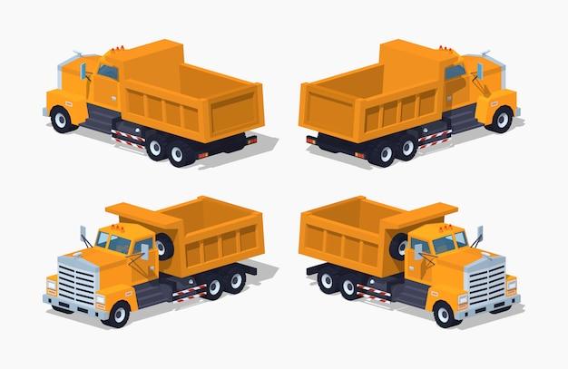 Dumper isometrico 3d lowpoly vuoto arancione
