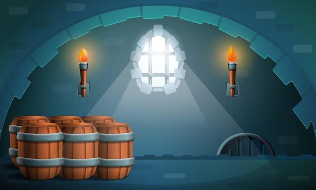 Dungeon castle con botti e torce, illustrazione