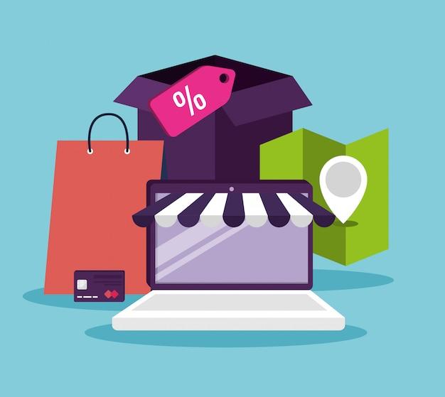 E-commerce con laptop alla tecnologia dello shopping online