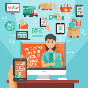 E-commerce e illustrazione dello shopping