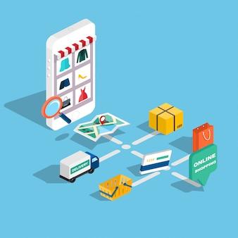 E-commerce isometrico web 3d piatto, commercio elettronico, shopping online, pagamento, consegna, processo di spedizione, vendite, infografica venerdì nero. pulsante acquista tablet.