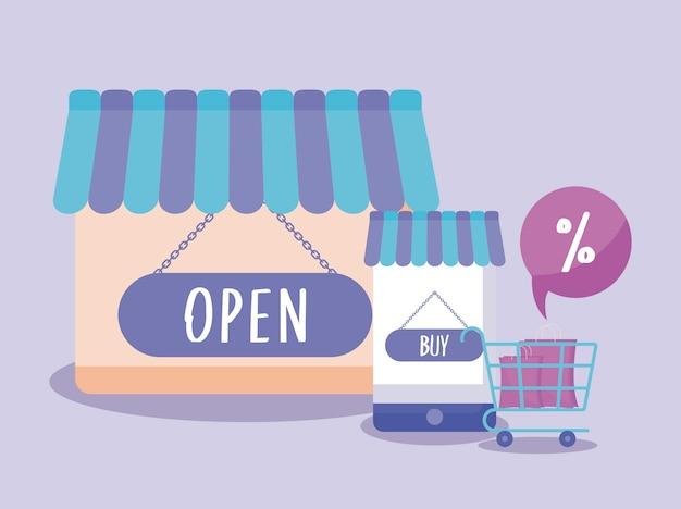 E-commerce online con smartphone e icone