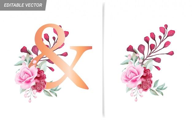 E decorazione floreale ad acquerello per lettere, numeri e simboli