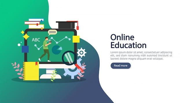 E-learning, e-book o concetto di educazione online per banner