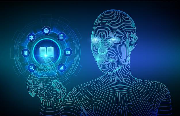 E-learning. formazione online innovativa e concetto di tecnologia internet. webinar, insegnamento, corsi di formazione. sviluppo delle competenze. interfaccia digitale commovente della mano del cyborg di wireframed. illustrazione vettoriale