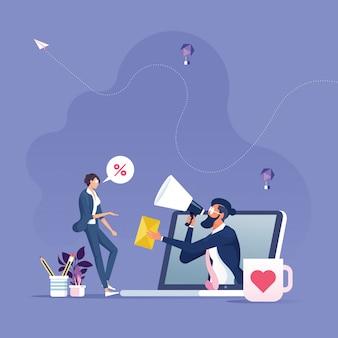 E-mail campagna pubblicitaria concetto-raggiungere il pubblico target con il vettore di e-mail