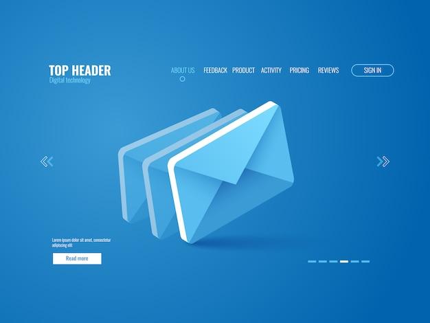 E-mail icona isometrica, modello di pagina del sito web su sfondo blu