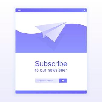 E-mail iscriviti, modello vettoriale newsletter online con aereo e pulsante di invio per sito web.