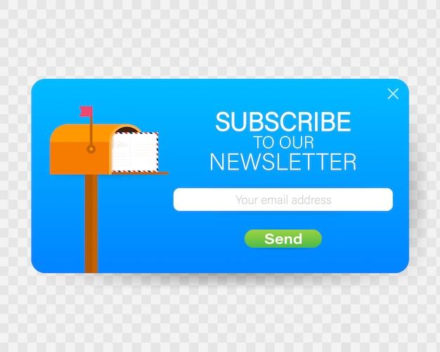 E-mail iscriviti, modello vettoriale newsletter online con cassetta postale e pulsante di invio.