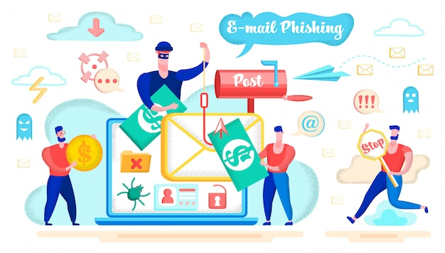 E-mail phishing and fraud danger concept