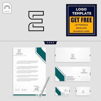 E modello di logo iniziale e design di articoli di cancelleria