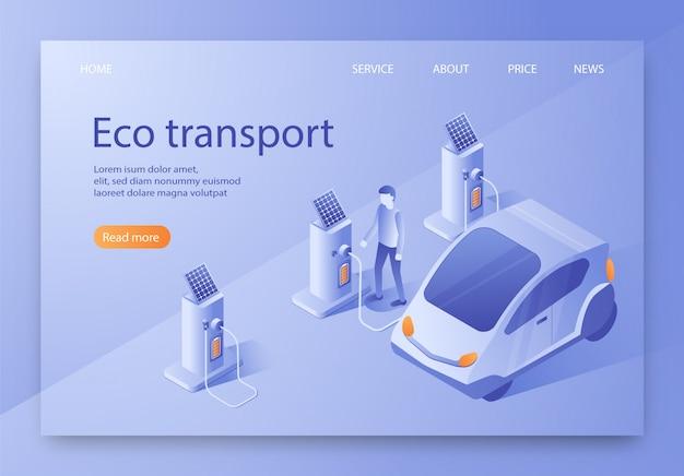È scritto banner piatto isometrico di trasporto eco.