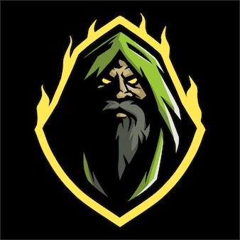 E sport logo witch in green hood e fire