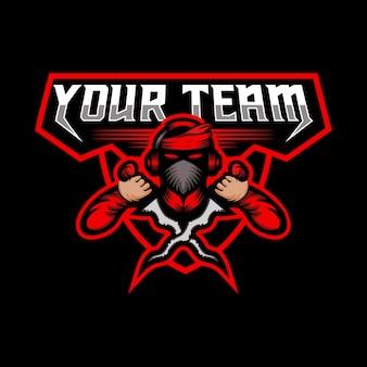 E sport mascotte team design illustrazione