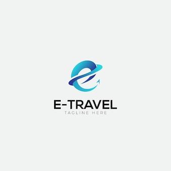 E travel logo con iniziale e