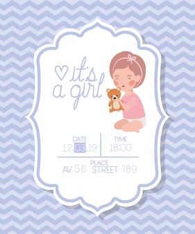È una ragazza baby shower card con orsacchiotto per bambini e orsacchiotti
