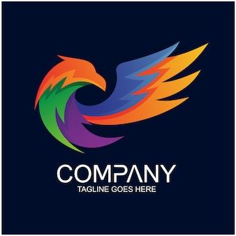 Eagle asbtract e colorful logo vector