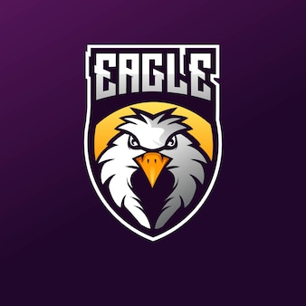 Eagle e-sport mascot logo design illustration vect