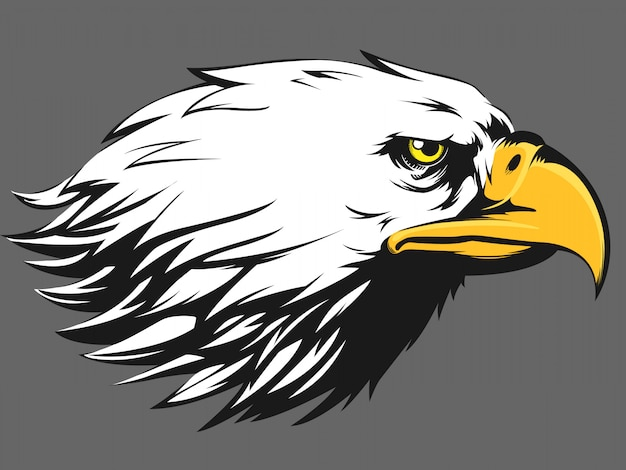Eagle face - vista laterale cartoon silhouette