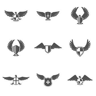 Eagle icon shield set