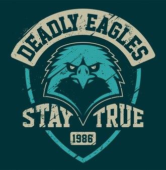 Eagle mascot grunge emblem template