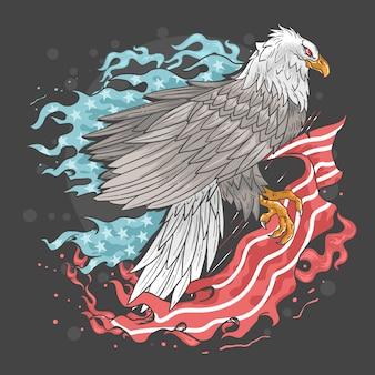 Eagle usa flag fire