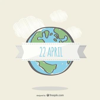 Earth day doodle di disegno vettoriale